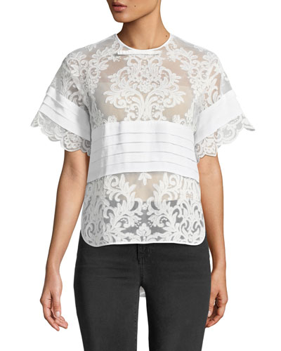 Short-Sleeve Lace Top