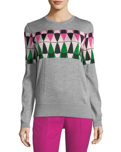 Novelty Argyle Wool Sweater