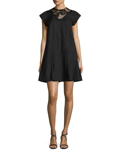 Cap-Sleeve A-Line Short Dress with Lace