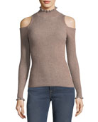 Open-Shoulder Metallic Ribbed Pullover Sweater