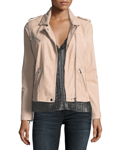 Zip-Front Leather Moto Jacket