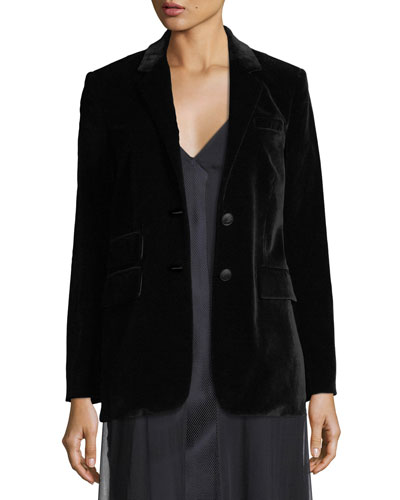 Rona Two-Button Velvet Blazer