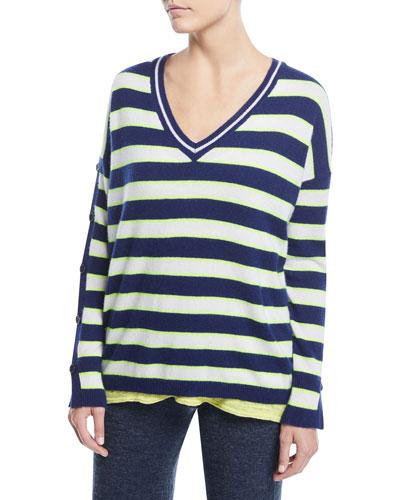 Stripe Cashmere Button-Sleeve Sweater, Plus Size