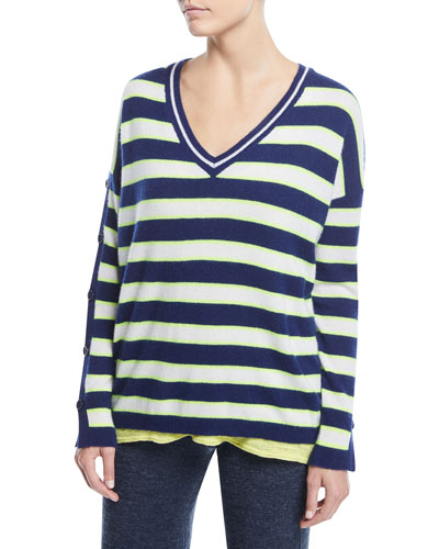 Stripe Cashmere Button-Sleeve Sweater