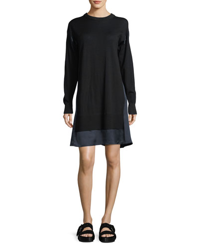 Rag & Bone Sadie Crewneck Long - Sleeve Wool Sweater Dress