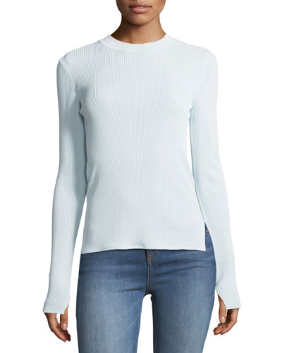 Sylvie Crewneck Rib-Knit Sweater