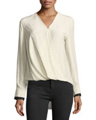 Victor Speckled Long-Sleeve Draped Silk Blouse