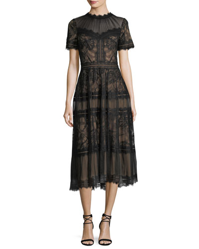 Lace High-Neck Pleated A-Line Cocktail Dress