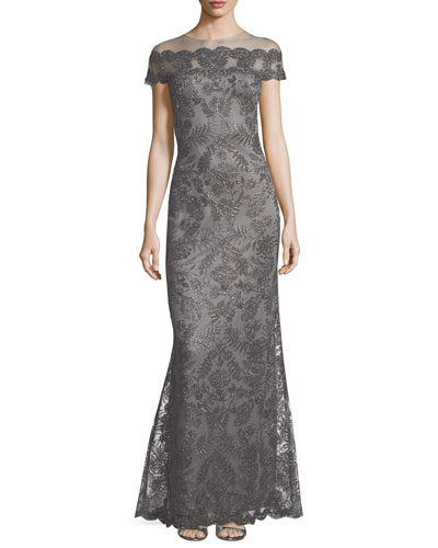 Metallic Lace Off-the-Shoulder Illusion Gown