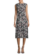 Marley Floral-Print Sleeveless Midi Dress with Pintucking