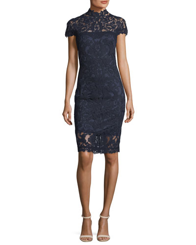 Short-Sleeve Mock-Neck Lace Dress