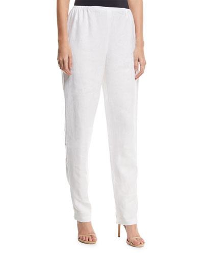 Slim-Leg Linen Pants, Plus Size