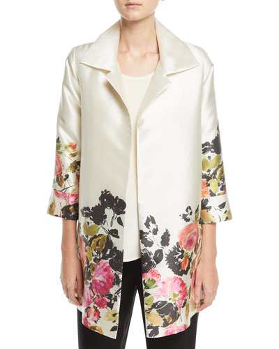 Flower Girl Open-Front Party Jacket, Plus Size