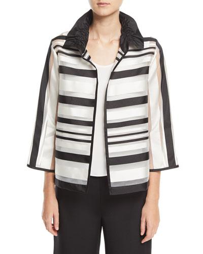 Ruched Satin-Striped Organza Jacket, Petite