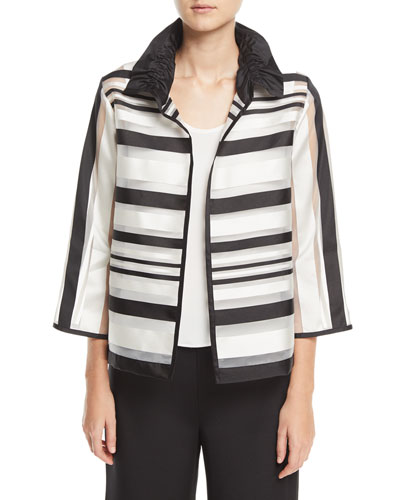 Ruched Satin-Striped Organza Jacket, Plus Size