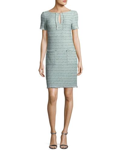 Riana Multi-Tweed Split-Neck Dress