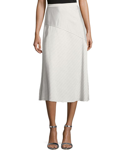 Narrow Stripe Twill Midi Skirt