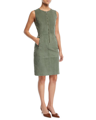 Suede Front-Zip Sheath Dress