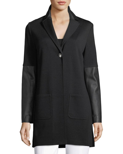 Milano-Knit Jacket with Leather Cuffs