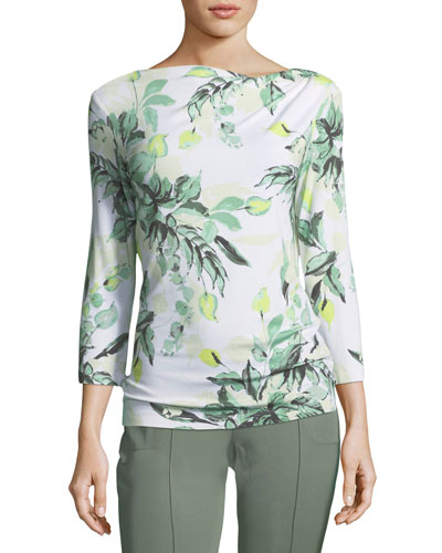 Leaf-Print Asymmetric Top