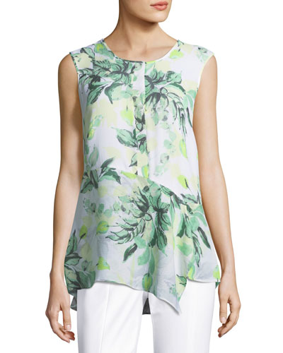 Leaf-Print Sleeveless Silk Top