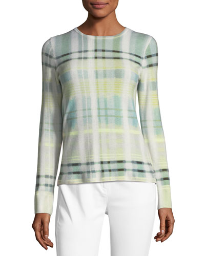Cashmere Plaid-Print Sweater