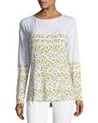 Long-Sleeve Linear Tweed-Print Top