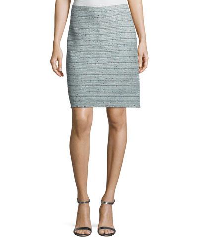 Riana Multi-Tweed Pencil Skirt