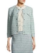 Riana Multi-Tweed Jacket with Fringe