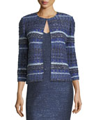 Eva Tweed Striped 3/4-Sleeve Jacket