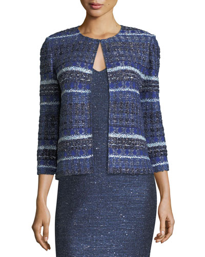 Eva Tweed Striped 3/4-Sleeve Jacket