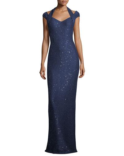 Sparkle Sequin Cap-Sleeve Knit Gown