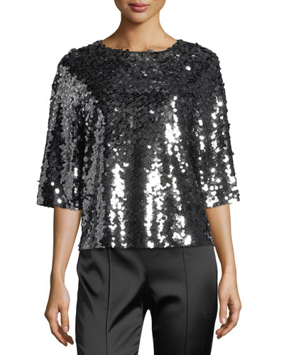 Sequined Tulle Half-Sleeve Top