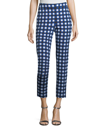 Gingham Stretch Capri Pants