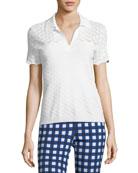 Eyelet Knit Short-Sleeve Polo Top