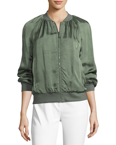 Satin Silk-Blend Bomber Jacket