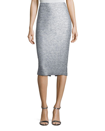 Glint-Knit Metallic Pencil Skirt