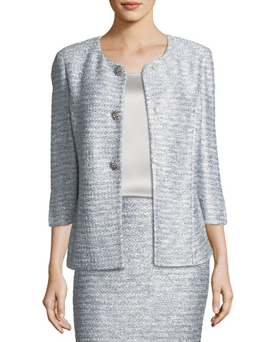 Glint-Knit Metallic Peplum Jacket
