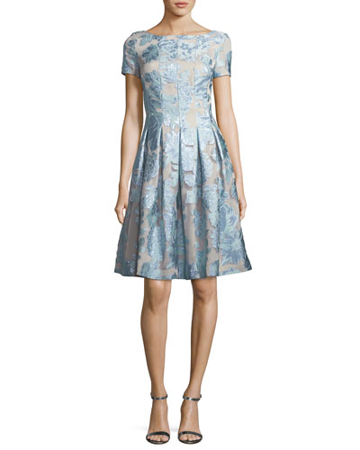 Organza Fit & Flare Floral Cocktail Dress