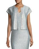 Gleam Metallic Knit Short-Sleeve Jacket