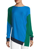 Colorblock Asymmetric Long-Sleeve Sweater
