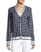 Gingham-Knit Long-Sleeve Cardigan