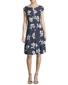 Falling Flower Short-Sleeve Silk Dress