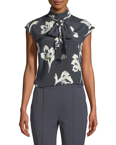 Falling Flower Self-Tie Silk Top