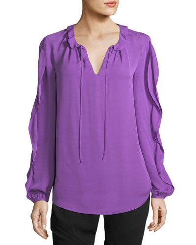 Self-Tie Silk Ruffle-Sleeve Top