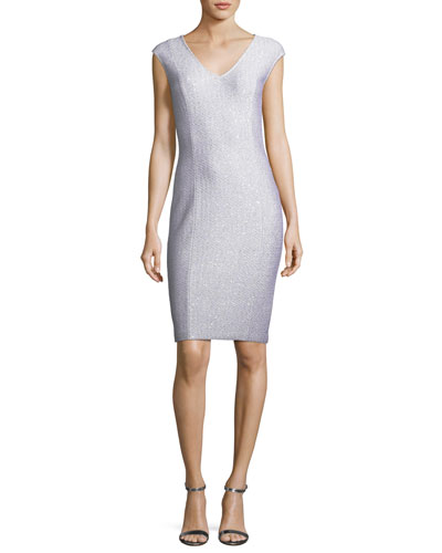 Ripple Texture Sequined Knit Cocktail Dress