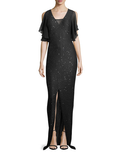 Hansh Sequin-Knit Chiffon-Trim Gown