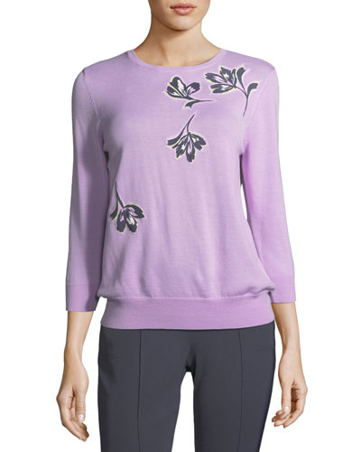 Falling Flower Pullover Wool Sweater