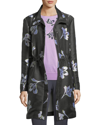 Falling Flower-Print Jacquard Coat