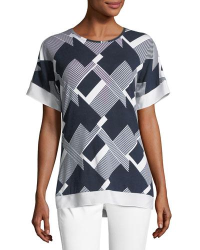 Geometric Line-Print Top
